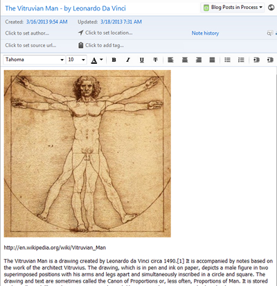 Leonardo da Vinci and Evernote